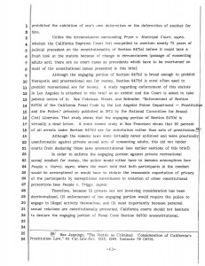 Here is a brief from 1980 challenging California Penal Code 647(b) which became law in 1961